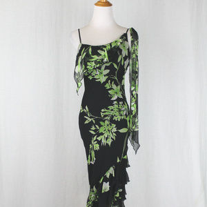 Vintage Cache Beaded Floral Flowing Silk Gown